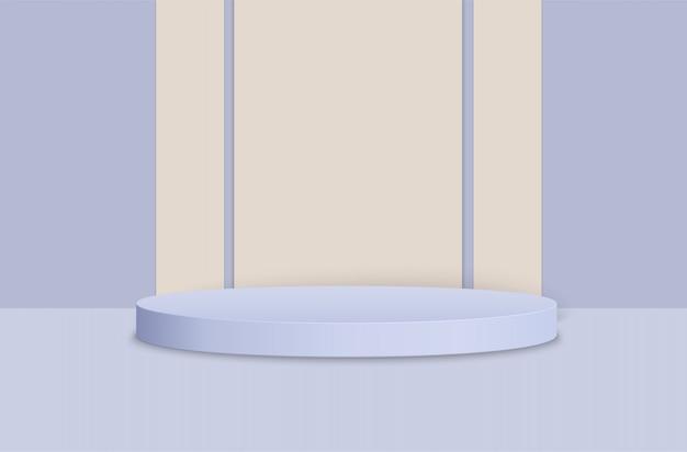 Podium, podium voor prijsuitreiking op een blauwe achtergrond.