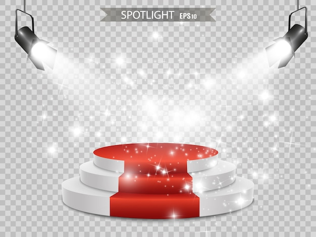Podium. podium voor prijsuitreiking. voetstuk. spotlight.