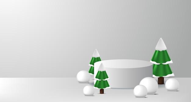 Podium podiumproductdisplay voor kerst en gelukkig nieuwjaar met cilinder en dennenboom