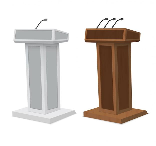Podium tribune rostrum stand met microfoons