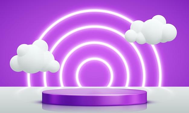 Podium versierd met verlichting. realistische violette sokkelscène met wolken voor product, reclame, show, prijsuitreiking, op gele achtergrond. minimale stijl. vector illustratie