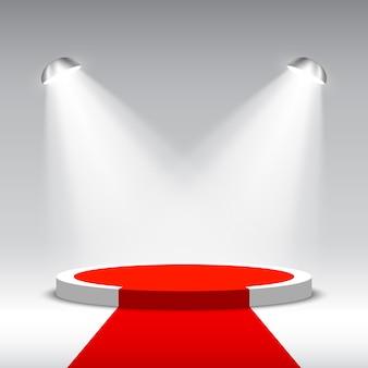 Podium voor prijsuitreiking en schijnwerpers. witte ronde podium met rode loper. voetstuk. tafereel. illustratie.
