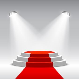 Podium voor prijsuitreiking met schijnwerpers. witte podium met rode loper. voetstuk. tafereel. illustratie.