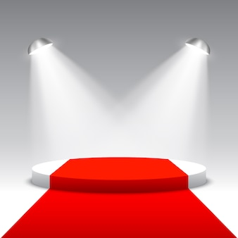 Podium voor prijsuitreiking met zoeklichten. witte ronde podium met rode loper. voetstuk. tafereel. illustratie.