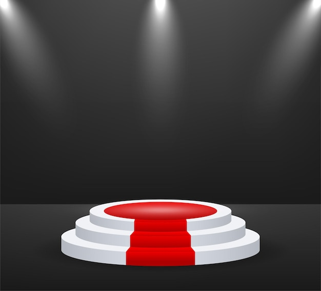 Podium voor prijsuitreiking. podium met rode loper. voetstuk. schijnwerper. vector illustratie.