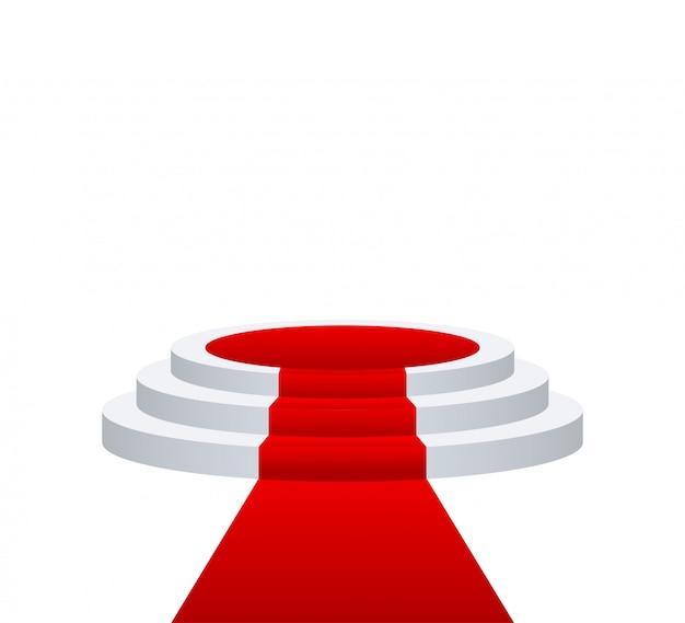 Podium voor prijsuitreiking. podium met rode loper.