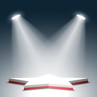 Podium voor prijsuitreiking. ster. rood en wit podium. voetstuk. tafereel. spotlight. .
