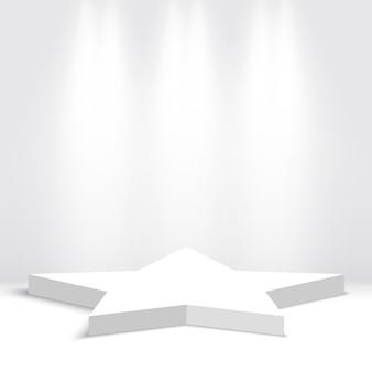 Podium voor prijsuitreiking. ster. wit podium. voetstuk. tafereel. illustratie.