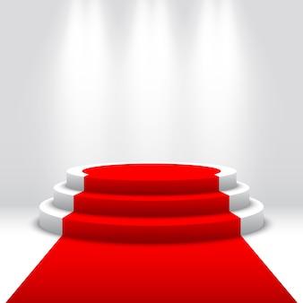 Podium voor prijsuitreiking. witte podium met rode loper. voetstuk. ronde scène. illustratie.