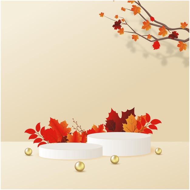 Podium voor productweergave op herfstconcept