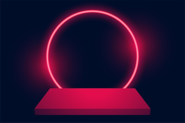 Podium weergeven met neon cirkelachtergrond