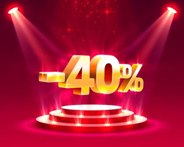 Podiumactie met aandeelkortingspercentage 40. vectorillustratie