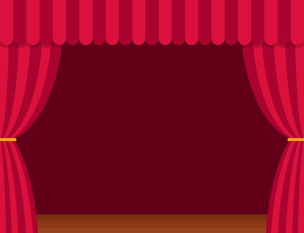Podiumgordijnen met bruine houten vloer in vlakke stijl. theater