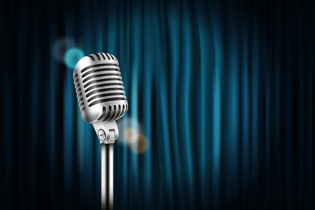 Podiumgordijnen met glanzende microfoon vectorillustratie. standup comedy show concept