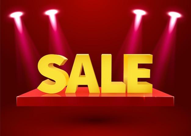 Podiumpodium met verlichting en verkoopbord. vector illustratie.