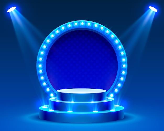 Podiumpodium met verlichting, podiumpodiumscène met voor prijsuitreiking op blauwe achtergrond, vectorillustratie