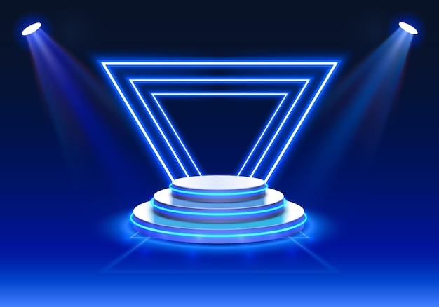 Podiumpodium met verlichting, podiumpodiumscène met voor prijsuitreiking op blauwe achtergrond, vectorillustratie Premium Vector
