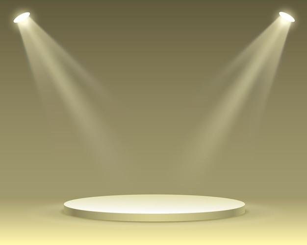 Podiumpodium met verlichting, podiumpodiumscène met voor prijsuitreiking op gele achtergrond, vectorillustratie