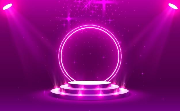 Podiumpodium met verlichting, podiumpodiumscène met voor prijsuitreiking op paarse achtergrond, vectorillustratie