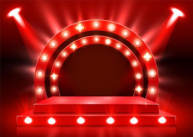 Podiumpodium met verlichting, podiumpodiumscène met voor prijsuitreiking op rode achtergrond. vector illustratie