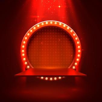 Podiumpodium met verlichting, podiumpodiumscène met voor prijsuitreiking op rode achtergrond, vectorillustratie