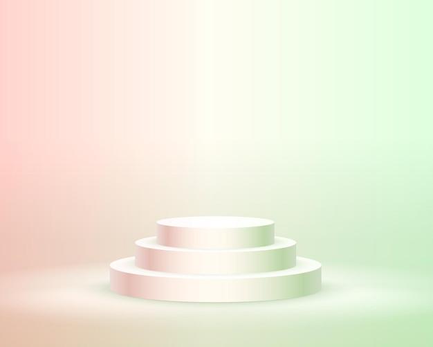 Podiumpodium met verlichting, podiumpodiumscène met voor prijsuitreiking op rode en groene achtergrond, vectorillustratie