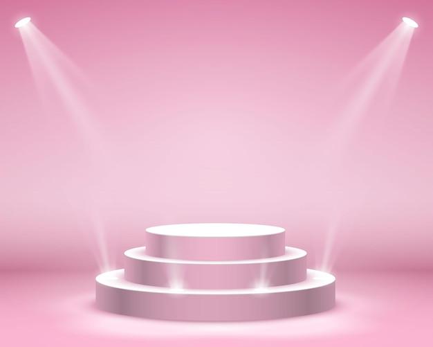 Podiumpodium met verlichting, podiumpodiumscène met voor prijsuitreiking op roze achtergrond, vectorillustratie
