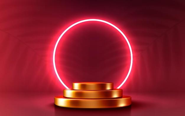 Podiumpodium met verlichtingspodiumpodiumscène met voor award decorelement achtergrondvector