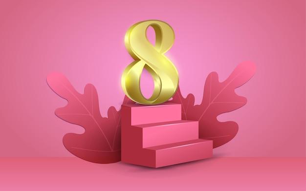 Podiumtreden en 8 gouden 3d-stijlen