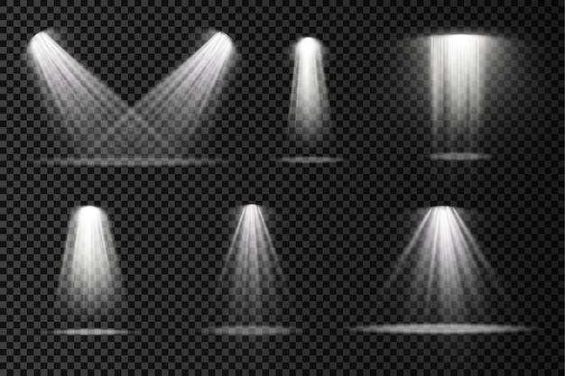 Podiumverlichting schijnwerpers scèneprojector lichteffecten helderwitte verlichting met schijnwerper Premium Vector
