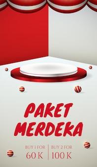 Podiumvertoning 3d-poster voor de onafhankelijkheidsdag van indonesië, 17 augustus