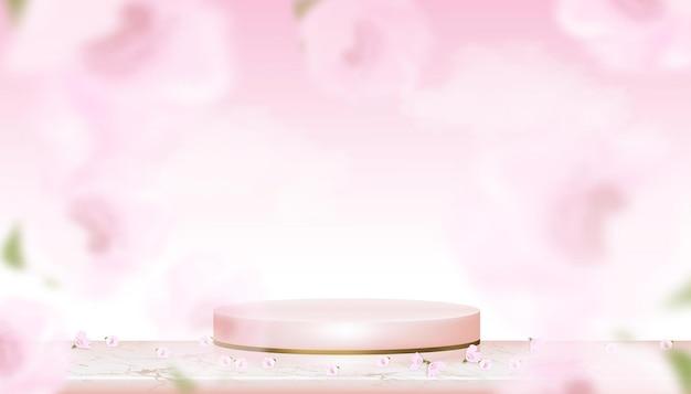 Podiumvertoning met de bloesem van de lenteappel op de roze achtergrond van de studioruimte