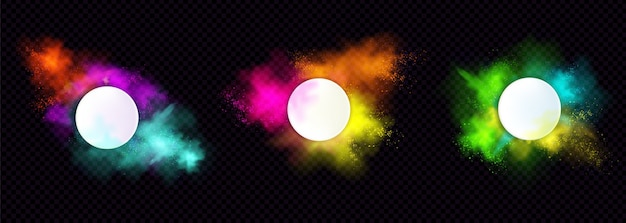 Poeder holi schildert ronde frames kleurrijke wolken of explosies, inktspatten, decoratieve levendige kleurstofgrenzen geïsoleerd