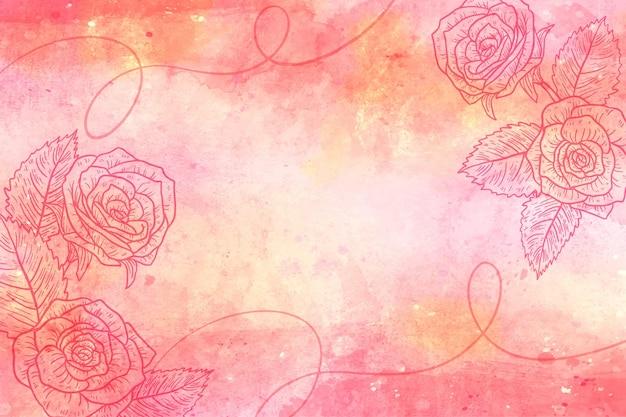 Poeder pastel achtergrond met botanische elementen