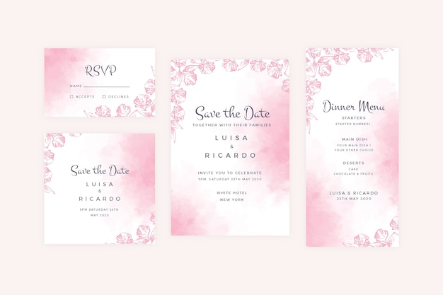 Poeder pastel bruiloft briefpapier collectie