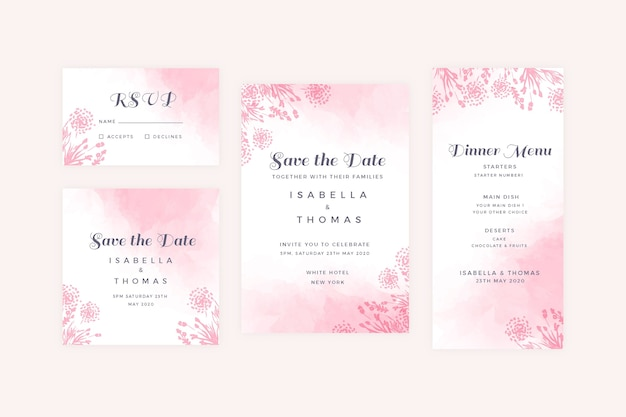 Poeder pastel bruiloft briefpapier instellen