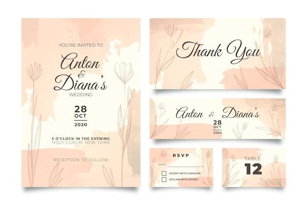 Poeder pastel bruiloft briefpapier