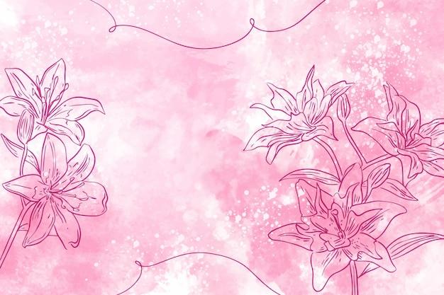 Poeder pastel met hand getrokken bloemen achtergrond