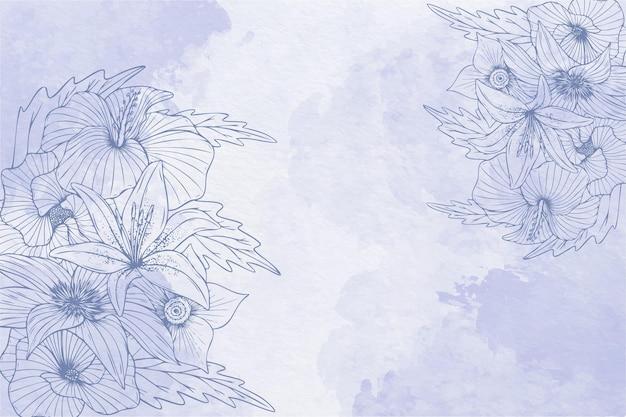 Poeder pastel met hand getrokken elementen achtergrond