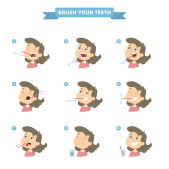 Poets je tanden set met meisje. gezonde instructie.