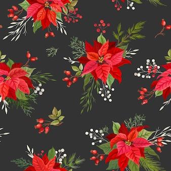 Poinsettia kerst naadloos patroon met winter maretak, takken van rowan boom met bessen, hulst bladeren. aquarel bloemen vectorillustratie voor inpakpapier, textiel, print, behang