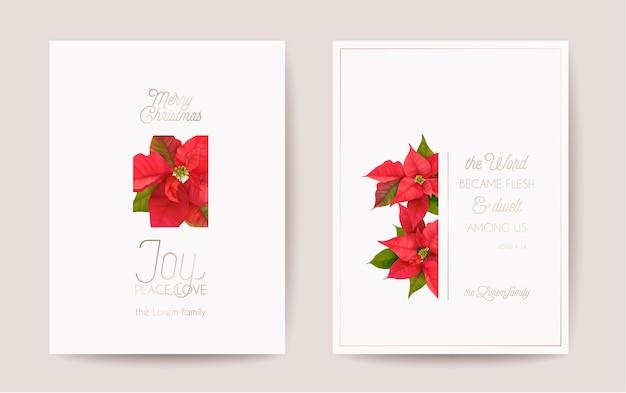 Poinsettia realistische vector kerstkaart set, floral gelukkig nieuwjaar illustratie. maretak frame design set, winter 3d flowers groeten, uitnodiging, flyer, brochure, dekking