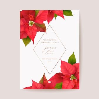 Poinsettia realistische vectorkerstkaart, bloemen gelukkig nieuwjaarillustratie. maretak frame design set, winter 3d flowers groeten, uitnodiging, flyer, brochure, dekking