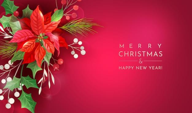 Poinsettia winter floral achtergrond, kerst vector uitnodiging achtergrond, holiday party groet sjabloon voor spandoek, bloemen, holly berry, maretak illustratie frame, nieuwjaar flyer 2021, dekking
