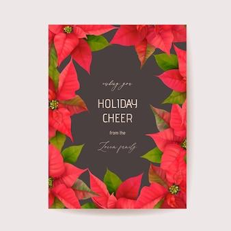 Poinsettia winter floral card, kerst vector bruiloft uitnodiging. sjabloon voor spandoek van de groet van de partij van de vakantie. realistisch 3d-bloemenillustratieframe, nieuwjaarsflyer, brochure, omslag