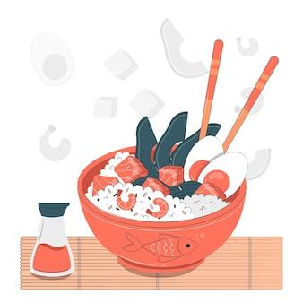 Poke bowl concept illustratie
