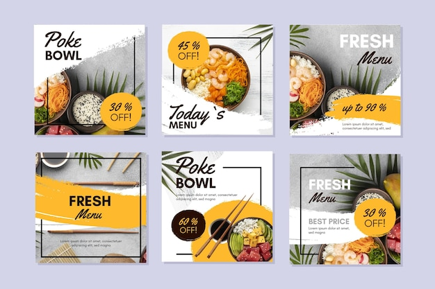 Poke bowl instagram posts-collectie Gratis Vector