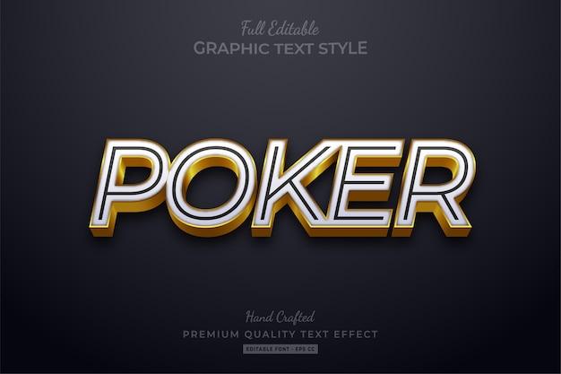 Poker bewerkbare eps text style effect premium