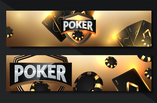 Poker casino banner set met kaarten en chips