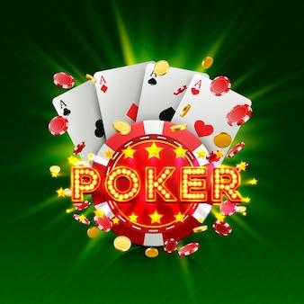 Poker casino banner uithangbord op de groene achtergrond. vector illustratie